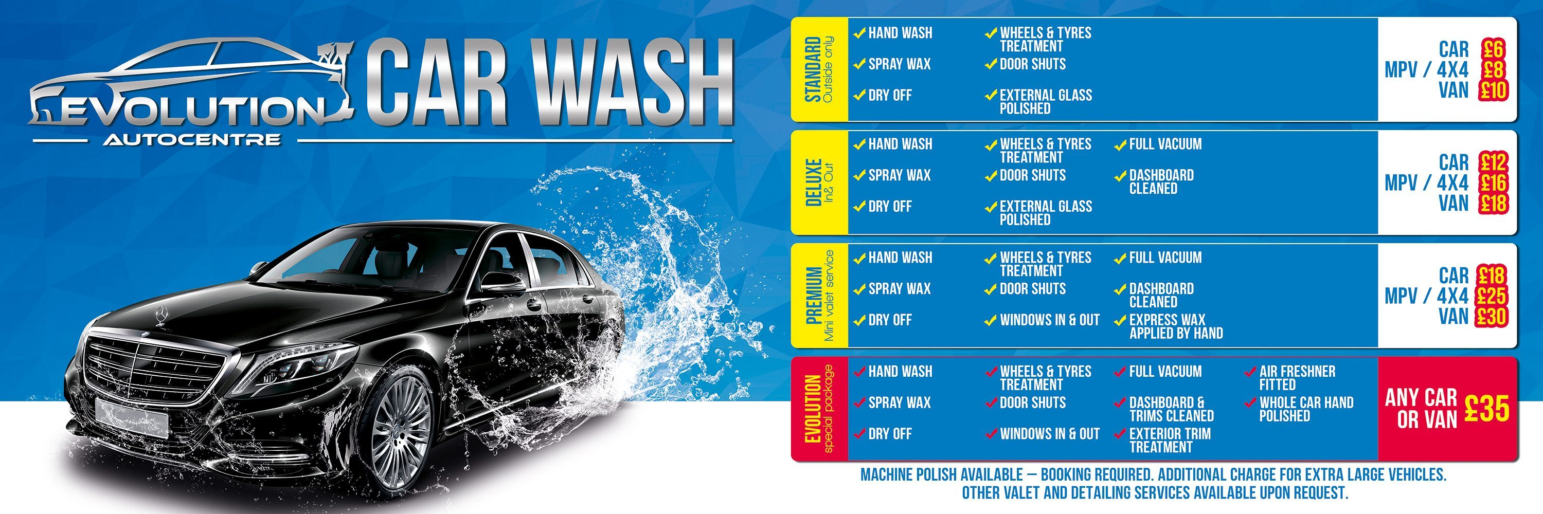 Car Wash Prices: Evolution Autocentre